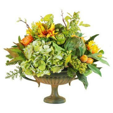 "Check out this item at One Kings Lane! 17"" Tuscan Compote in Urn, Faux"