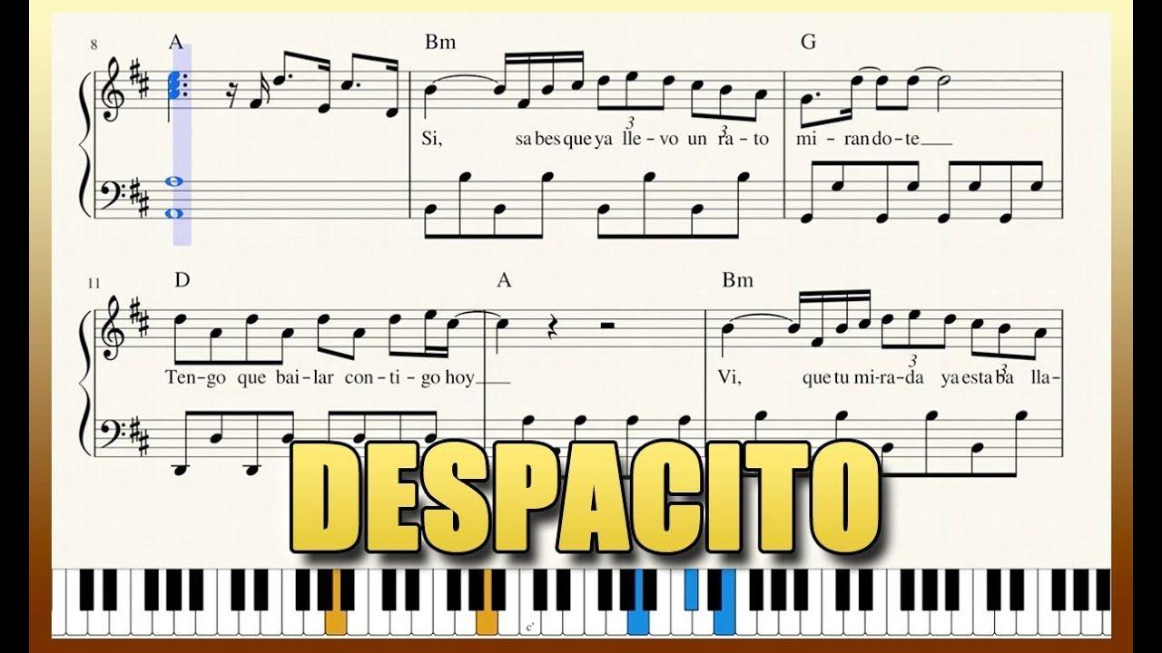 Despacito Piano Tutorial Free Sheet Music With Lyrics Luis