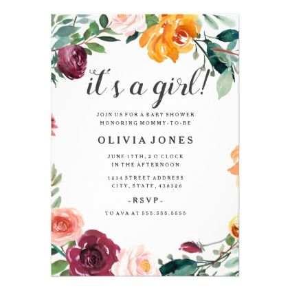 Pretty Floral Girl Baby Shower Invitation  Invitations