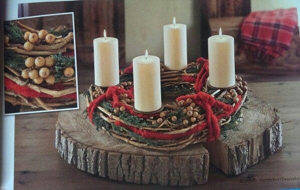 adventskranz auf baumstamm deko rustikale weihnachten. Black Bedroom Furniture Sets. Home Design Ideas