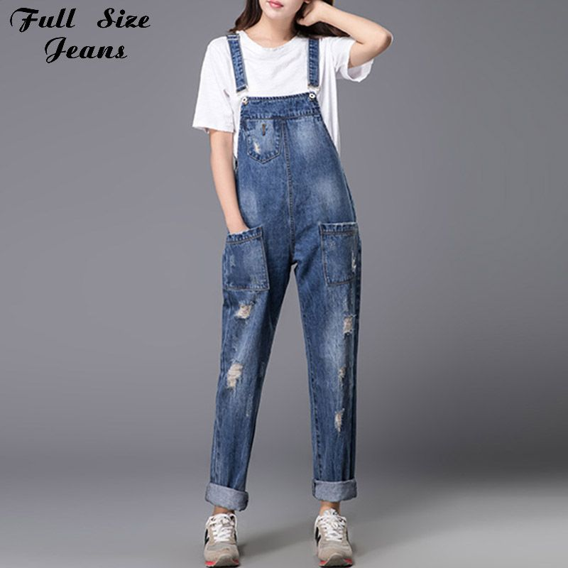 9a1f6b45001 Plus Size Women Wide Leg Loose Ripped Denim Overalls Europe Jumpsuit  Boyfriend Hole Pockets Jeans Romper S M Xl 3Xl 5Xl 6Xl Price  59.17   FREE  Shipping ...