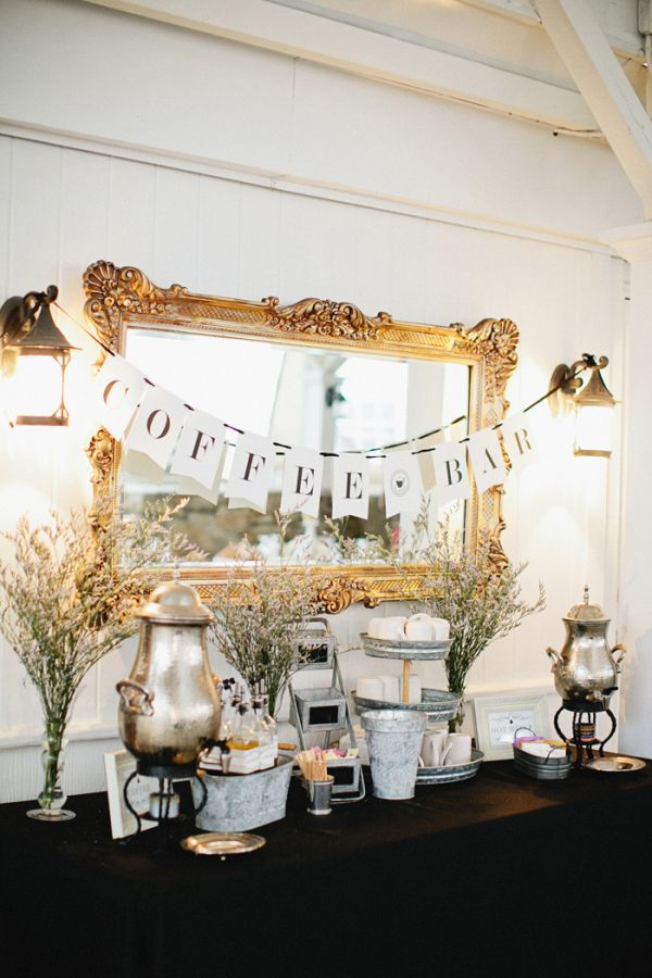 Gold And Black Vintage Style Coffee Bar Wedding Decor Styling