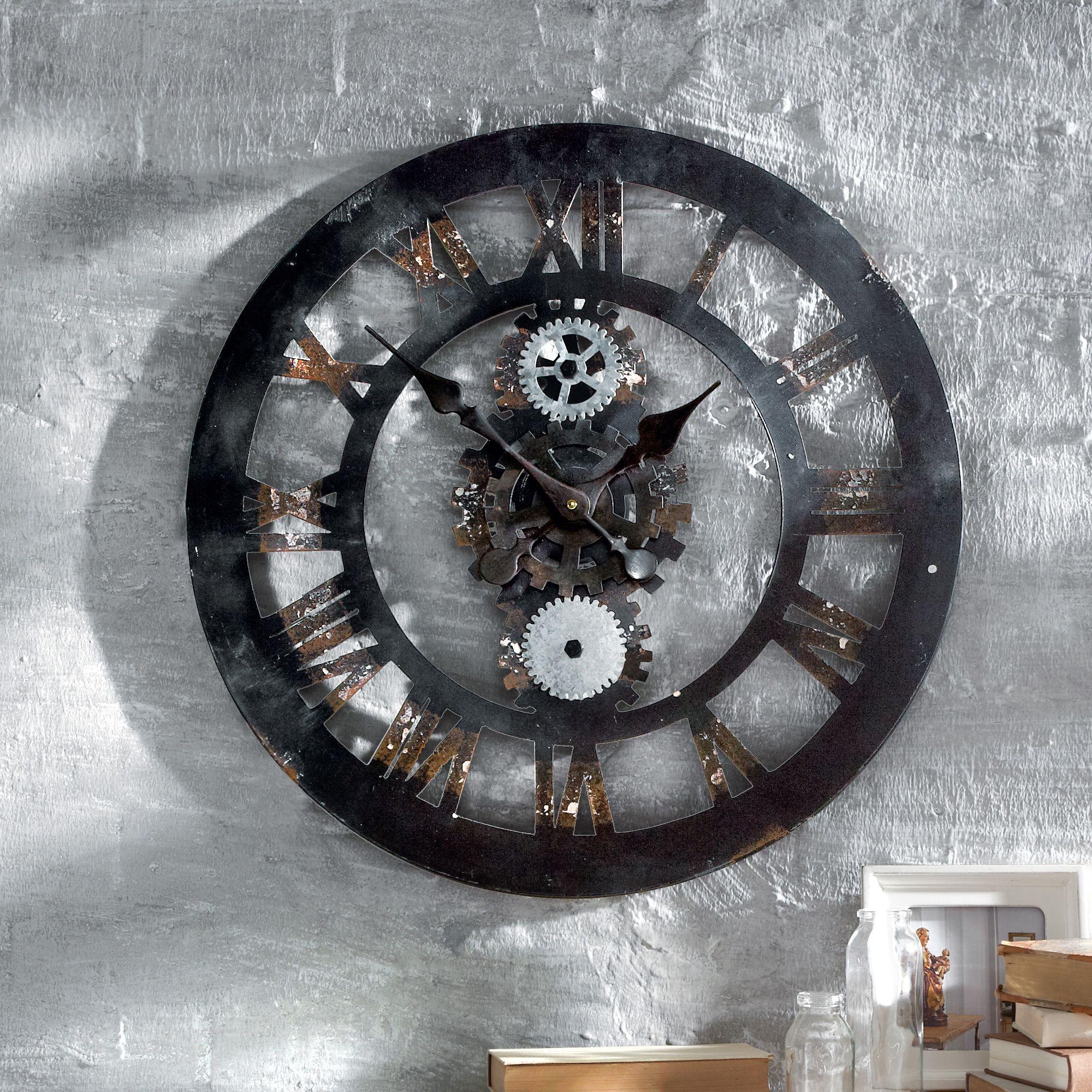 wanduhr zahnrad originelle wanduhr aus metall mit sichtbaren zahnr dern industrial saison. Black Bedroom Furniture Sets. Home Design Ideas