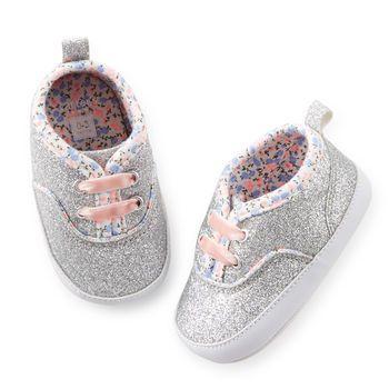 Carter S Glitter Sneaker Crib Shoes Baby Girl