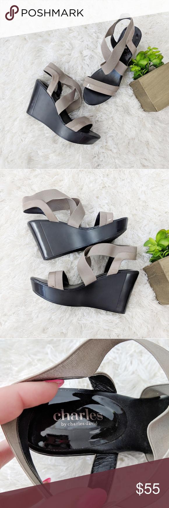 8b0eb6e41178 CHARLES DAVID feature elastic wedge sandal taupe Charles by Charles David  patent faux-leather (