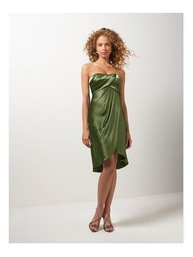 Charmeuse Strapless Slim Skirt Ruched Bodice Cocktail Length Bridesmaid Dress
