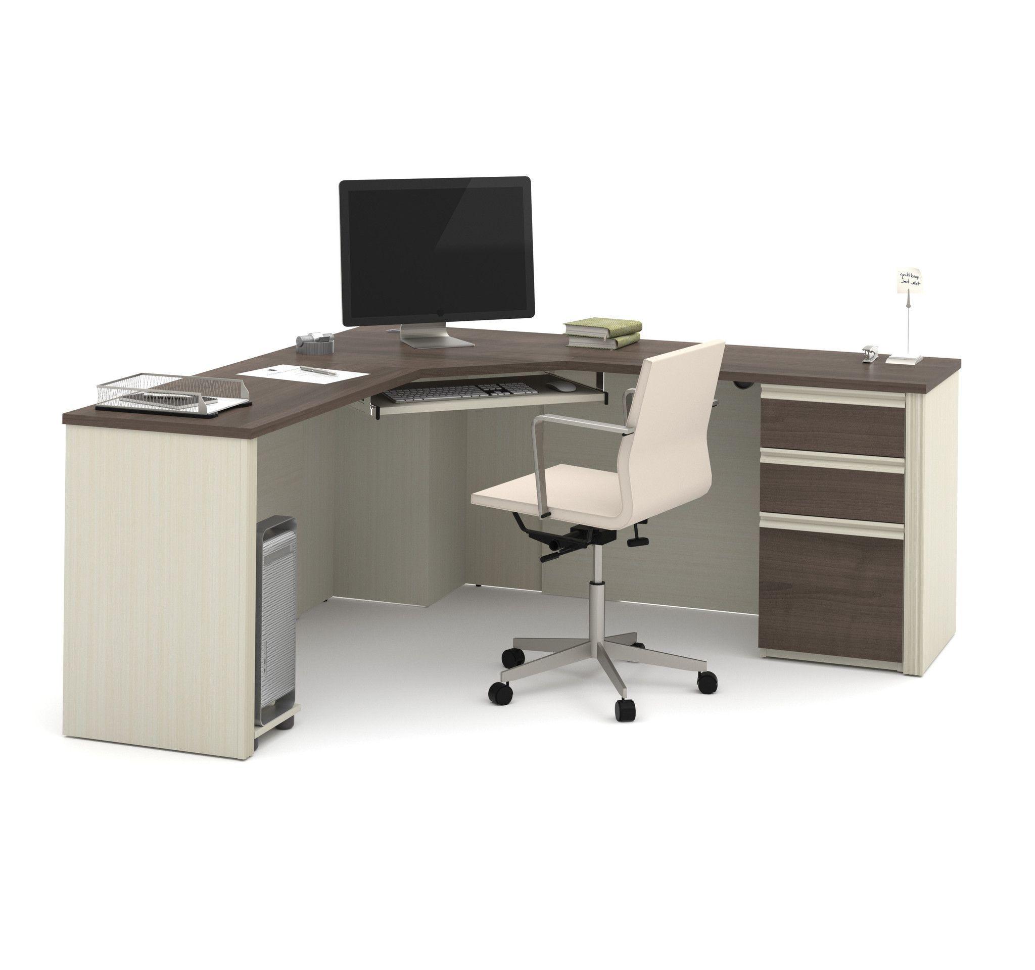71 X 71 Modern Corner Desk In White Chocolate Antigua Modern