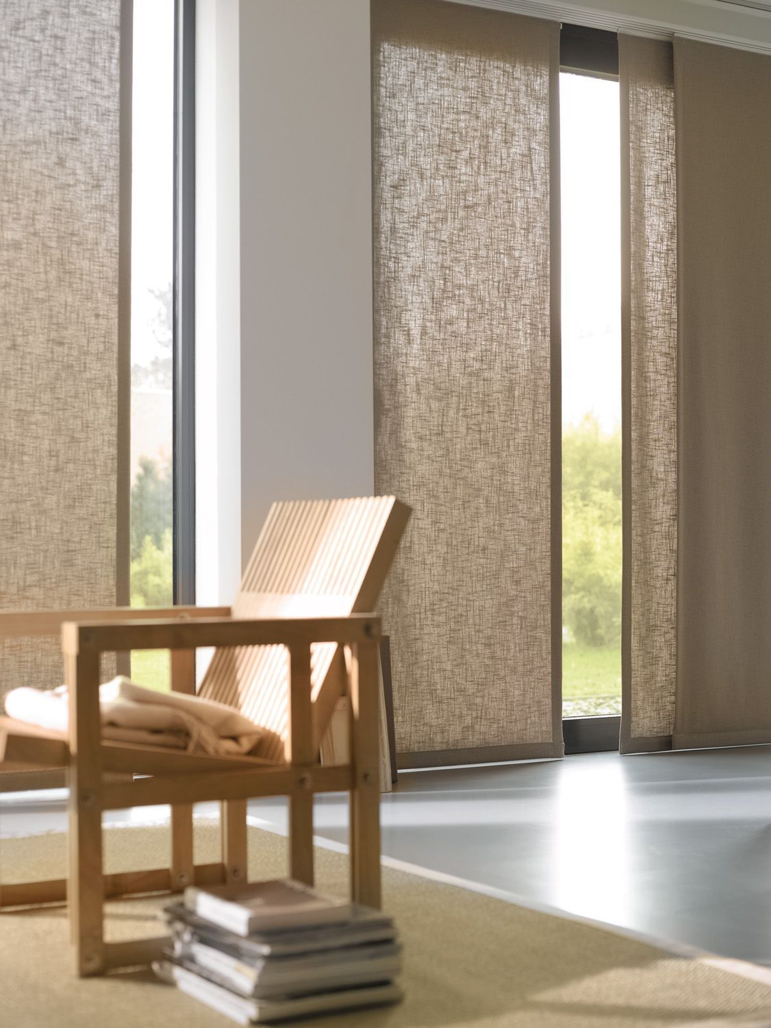 Bamboo Sliding Panel Track Blinds: Panel Oriental. Luxaflex® HunterDouglas. …