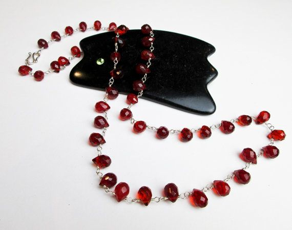 1990s Genuine Red Quartz Briolettes Necklace, Sterling Wire Wrapped, Sample from Tampico S.F. USA. by TampicoJewelry