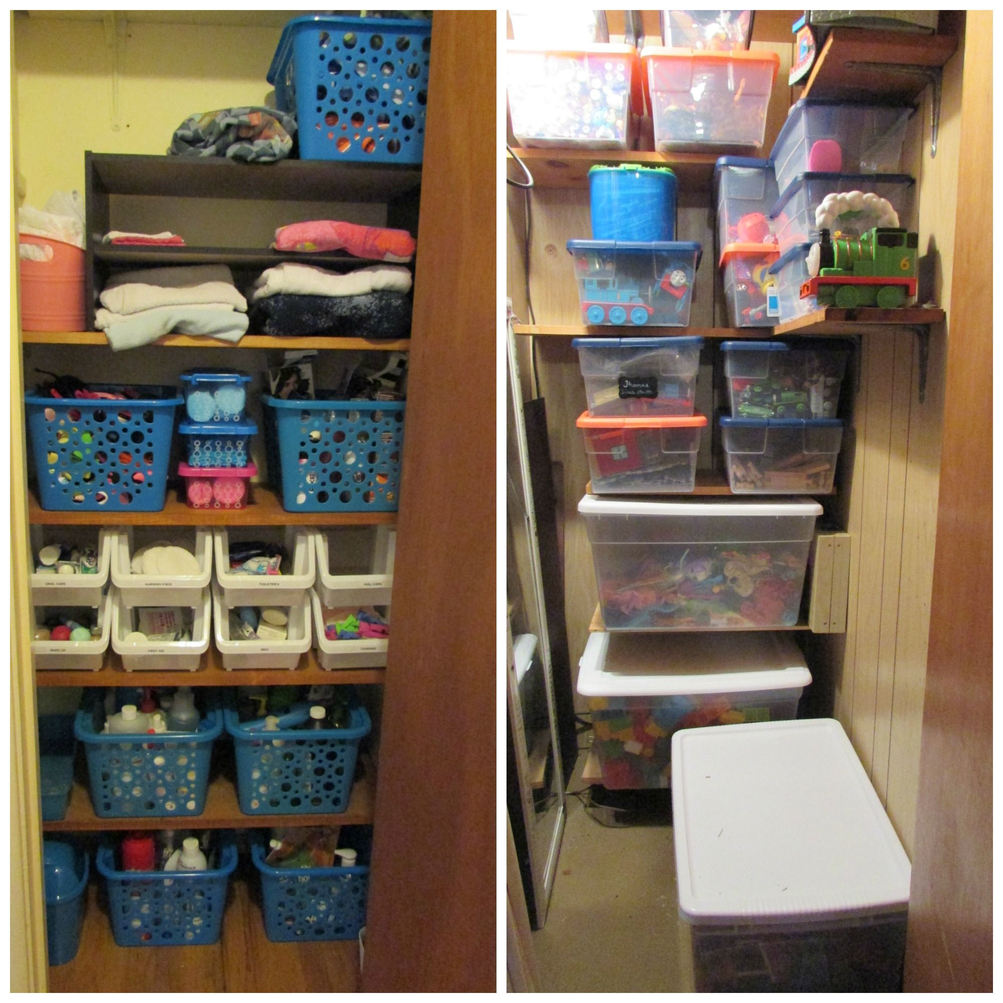 Organized My Linen Closet And Toy Closet With Bins From The Dollar Tree And Target Makes Life So Much Eas Closet Planning Dollar Store Organizing Linen Closet