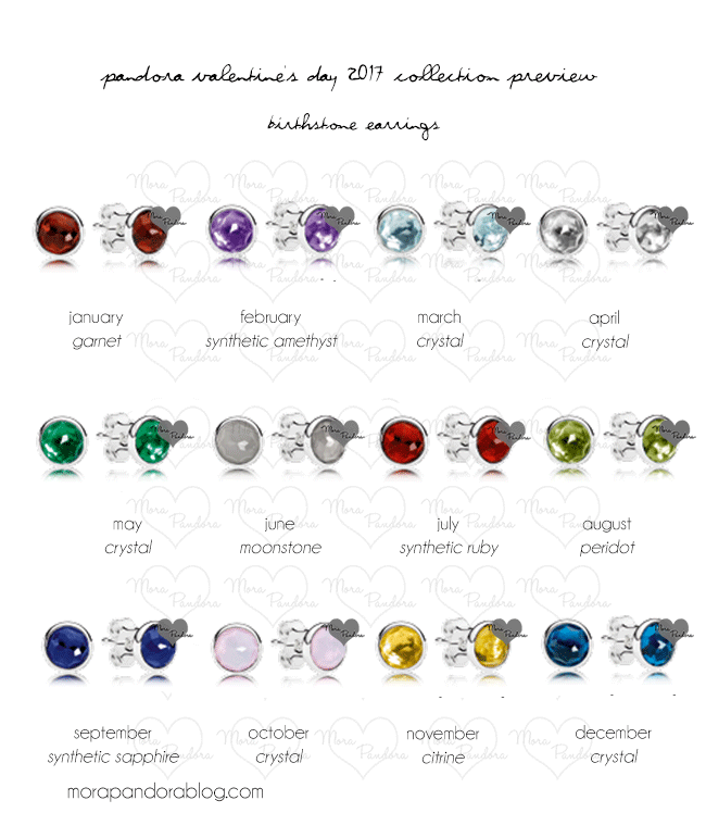 Pandora Valentine S 2017 Birthstone Earrings