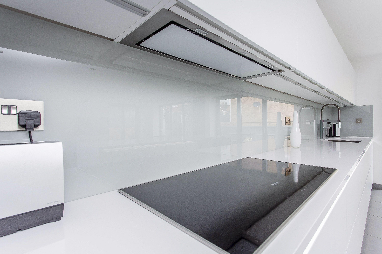 Spectacular White and Grey Glass Handleless Nolte Matrix Art Kitchen