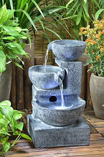 Amazon Com Solar Cascading Bowls With Water Pump Kit Cascading Bowls Patio Lawn Garden Solar Fountain Solar Powered Fountain Water Fountains Outdoor