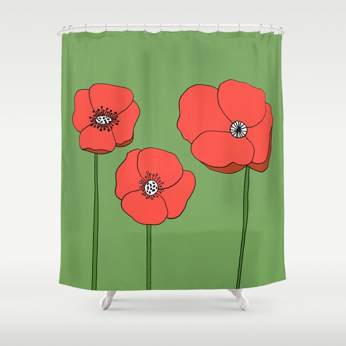 Colorful Botanical Shower Curtain Red Poppies Garden Inspired Bathroom
