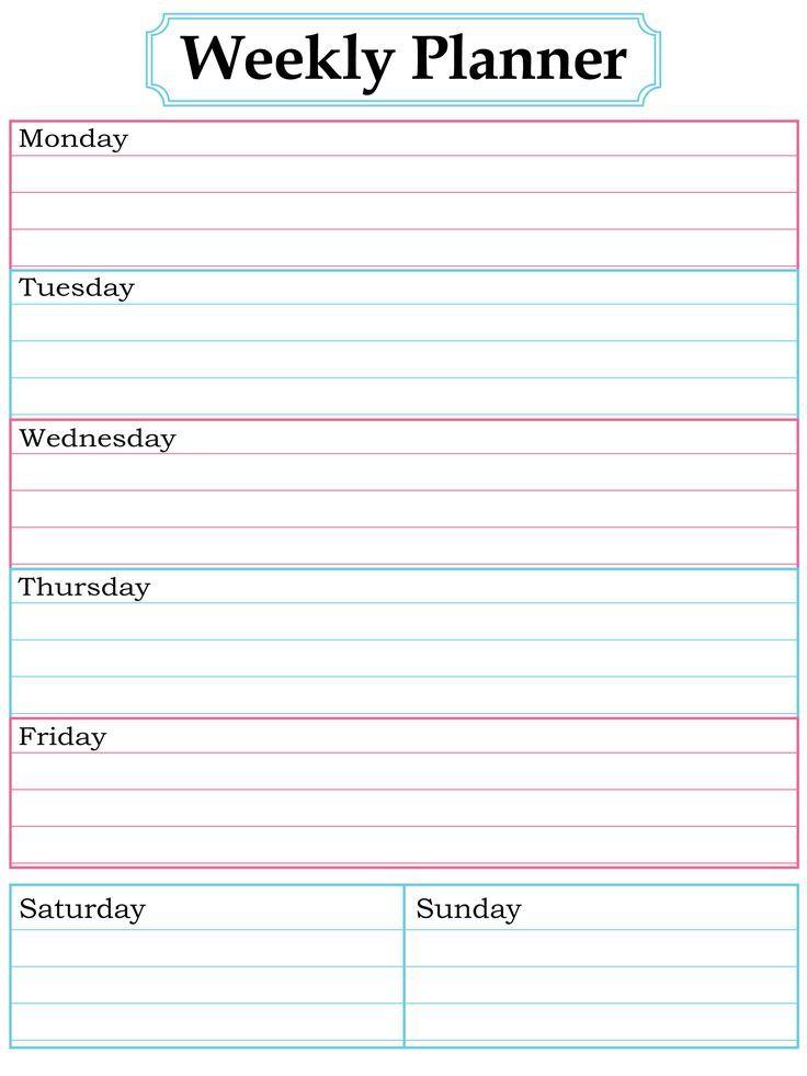 free printable weekly calendar templates week day planner template 1