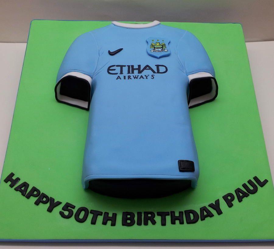 Vanilla Sponge Manchester City Football Shirt Cake For A 50th