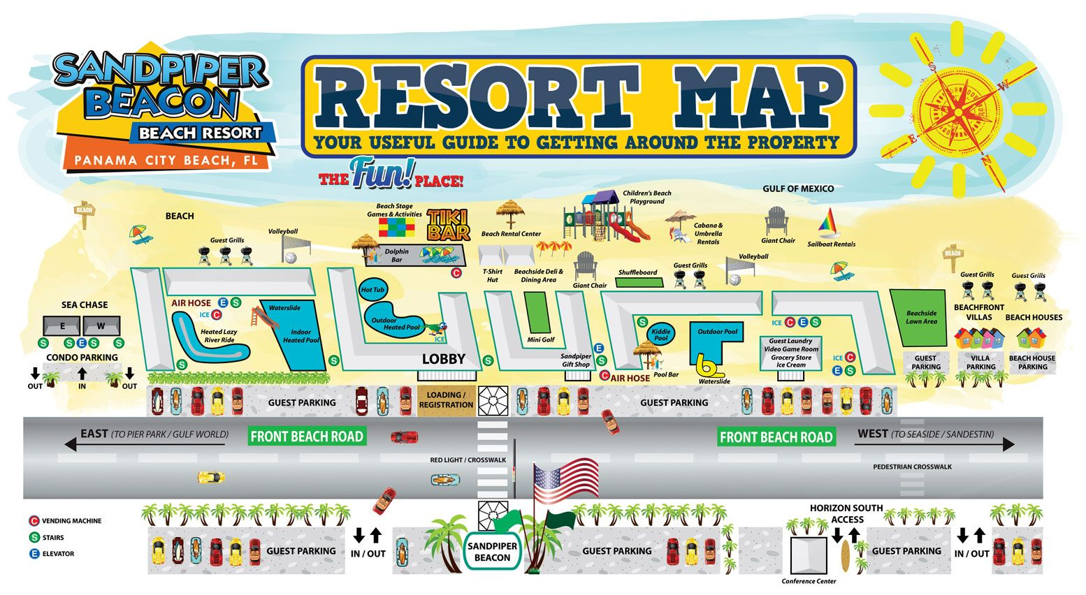 The Resort Map Of The Sandpiper Beacon Beach Resort In Panama City