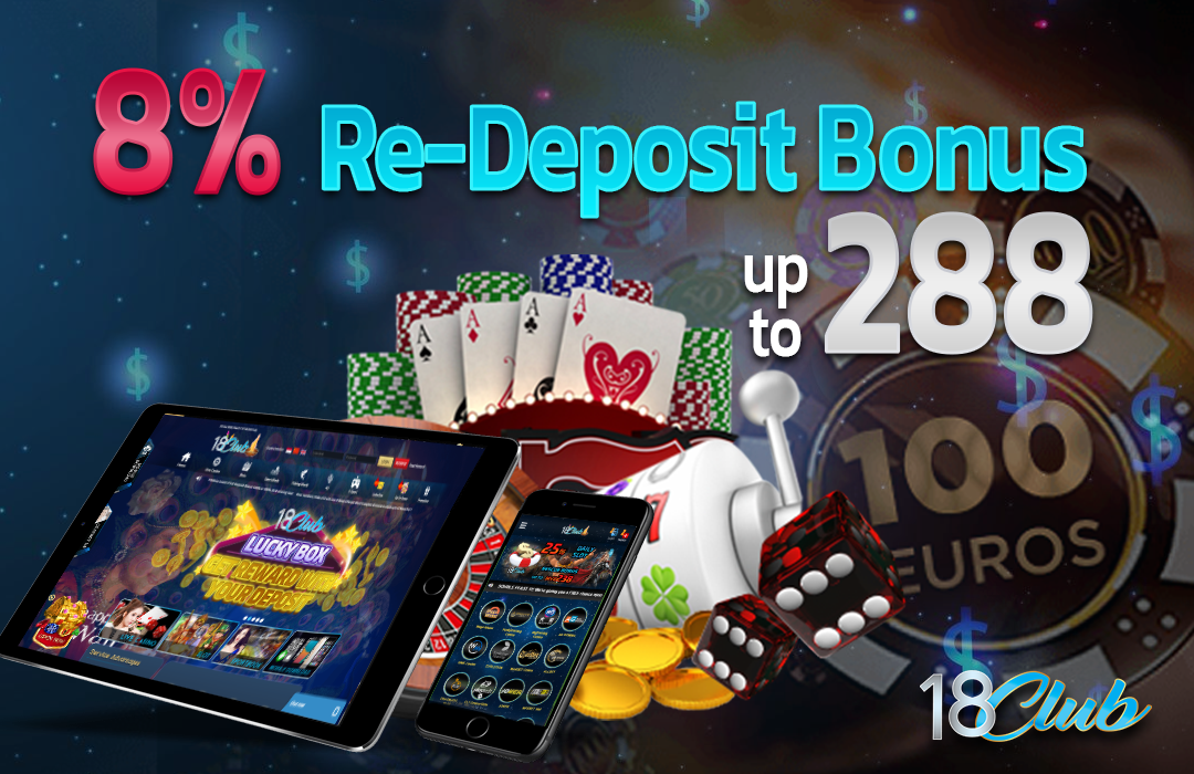 Sign up and play at a real online casino without risking any money by taking  advantage of a 8% re-deposit bonus in 18ClubAsia! Choo… | Bonus, Online  casino, Deposit
