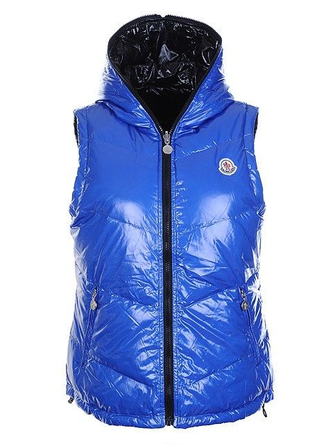 Womens Moncler Double-sided Vest Blue in Black [2900212] - £133.59 :