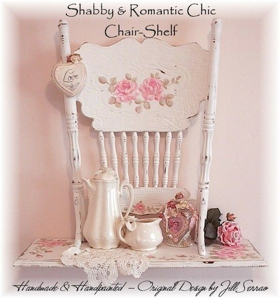 shabby chic chair shelf by milkandhoneyhatchlings shabby. Black Bedroom Furniture Sets. Home Design Ideas