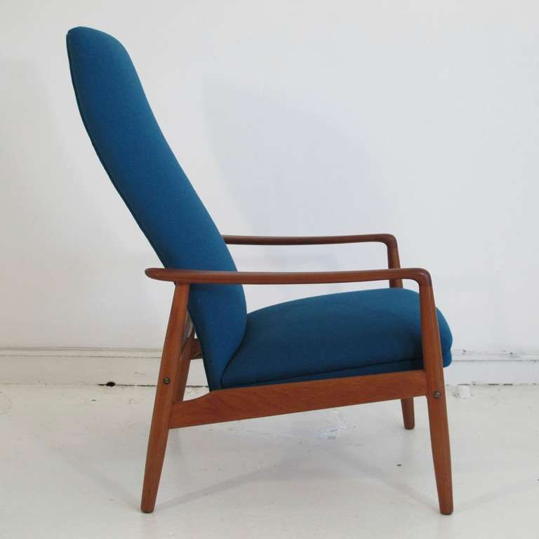 Mid Century Danish High Back Reclining Lounge Chair Scandinavian Lounge Chair Vintage Lounge Chair Modern Lounge Chairs