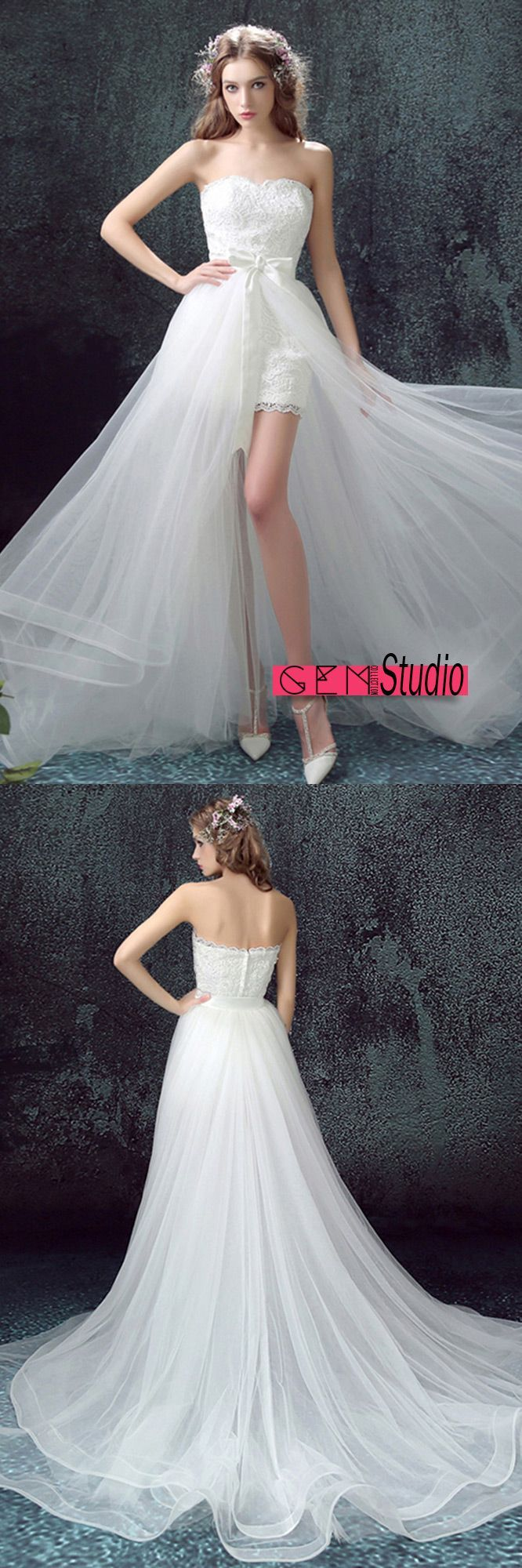 flowy tulle high low wedding dresses with train unique