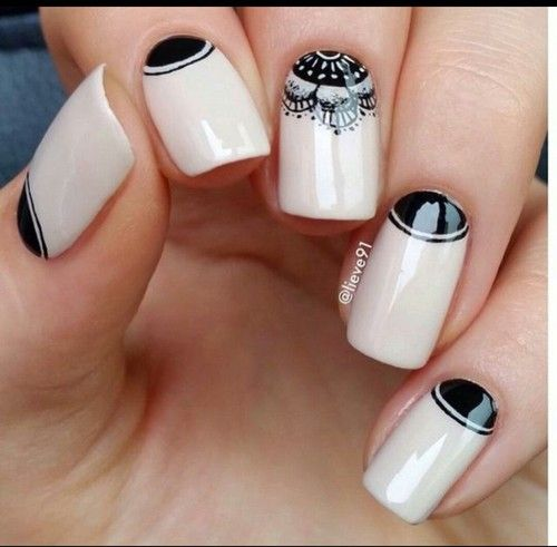 Black And Nude Manicure Nail Art Unhas Pinterest Nails