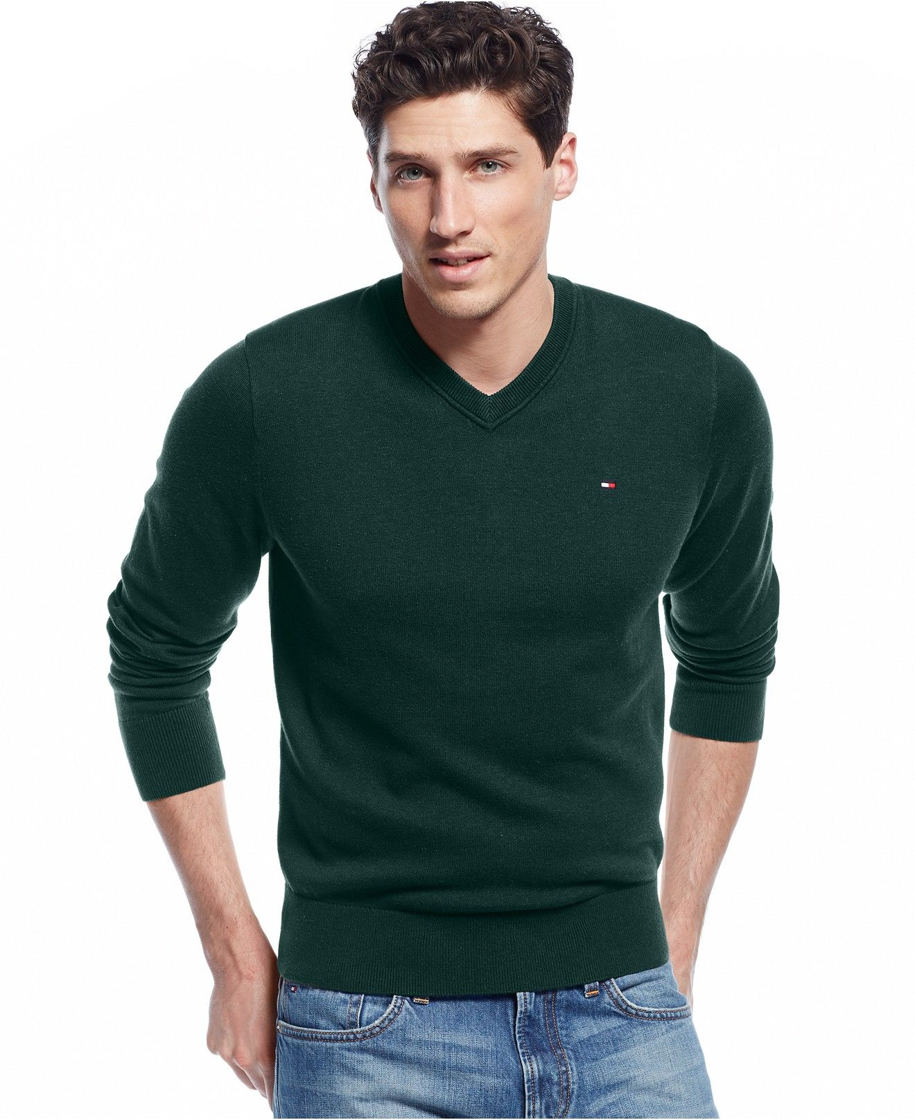 e92ddab884b6cc Tommy Hilfiger Big & Tall Signature Solid V-Neck Sweater - Sweaters - Men -  Macy's Dark Green
