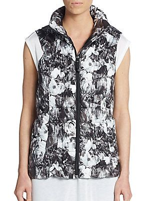 a71291cd36 Betsey Johnson Performance Floral Quilted Down Vest - Black - White ...