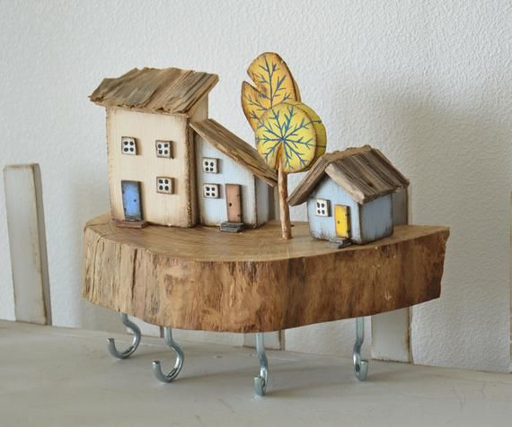 Miniature House Wooden Key Holder Wall Key Hooks Key Hanger Custom Key Rack Driftwood Key Holder Jewellery Organizer Wall Key Storage