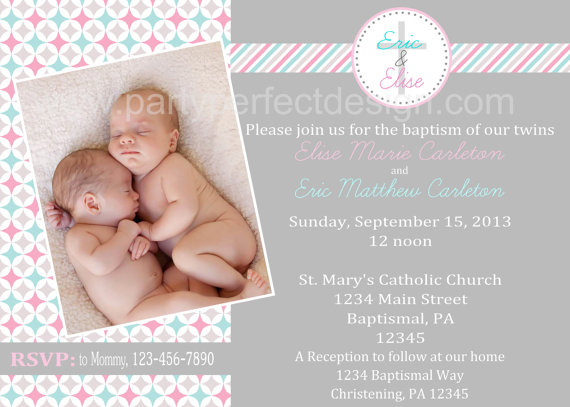 pink blue and gray geometric twins baptism invitation first