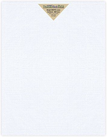 25 Bright White Linen 80 Cover Paper Sheets 11 X 14 11x14 Inches Scrapbook Picture Frame Size 80 Lb Pound Card Cover Paper Fine Linen Scrapbook Album