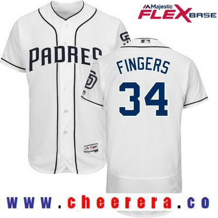 12d351e6c ... mens san diego padres rollie fingers retired white home stitched mlb  2017 majestic flex base jersey