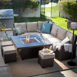 Belham Living Brookville All Weather Wicker Sofa With Longmont Fire Pit  Table   Fire Pit Patio