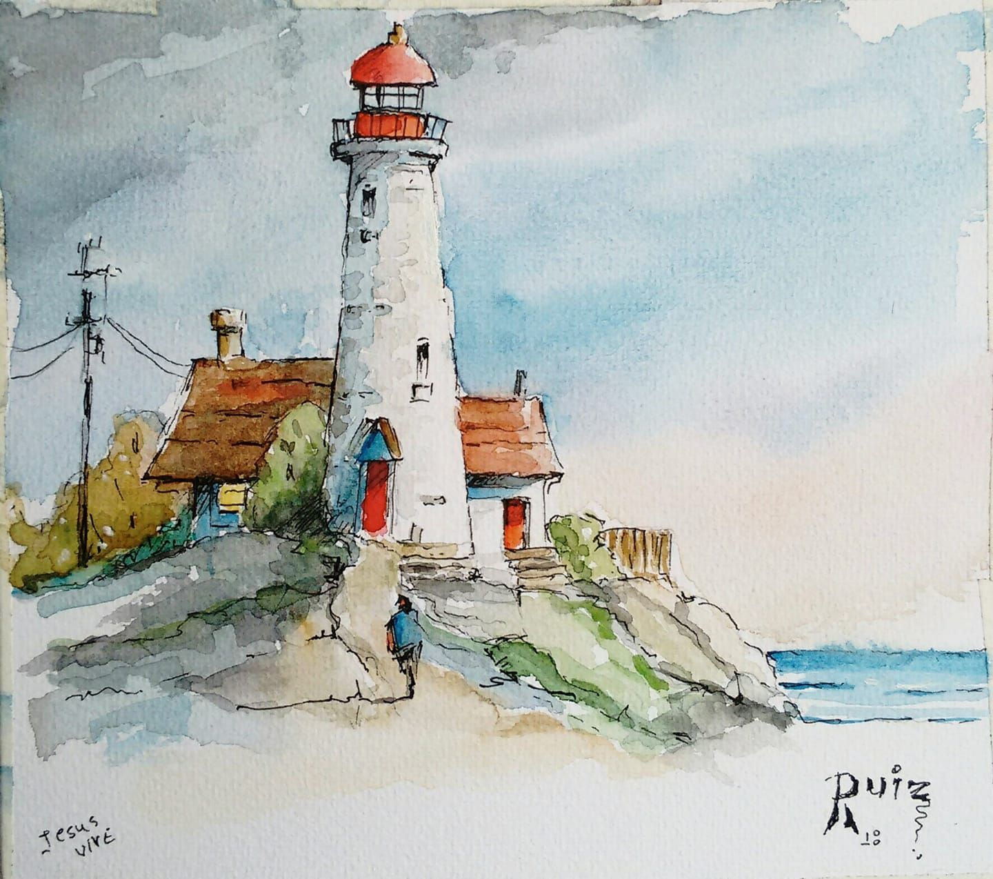 Malen Malerei Leuchtturm Aquarell Lighthouse Painting