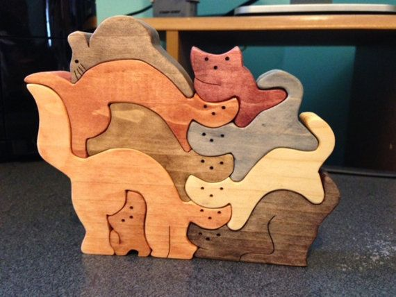 Wooden Tree Puzzle Cats On A Tree Wooden Tree Toy Wooden Tree Puzzle Wooden Puzzle For Kids Toddlers