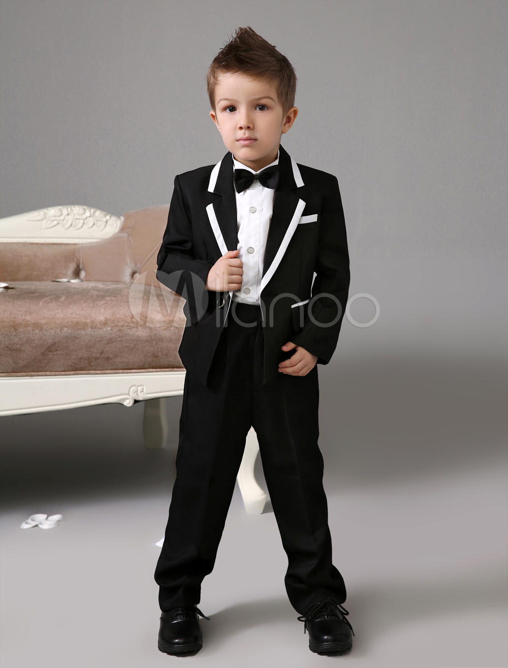 0c9396d8e546 Black Boy Suit Set Kids Tuxedo Wedding Jacket Pants Shirts Bow Tie ...