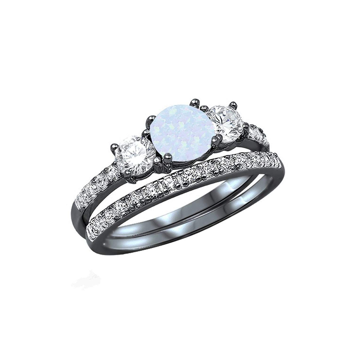 Blue Apple Co 3-Stone Wedding Bridal Set Ring Band 925 Sterling Silver