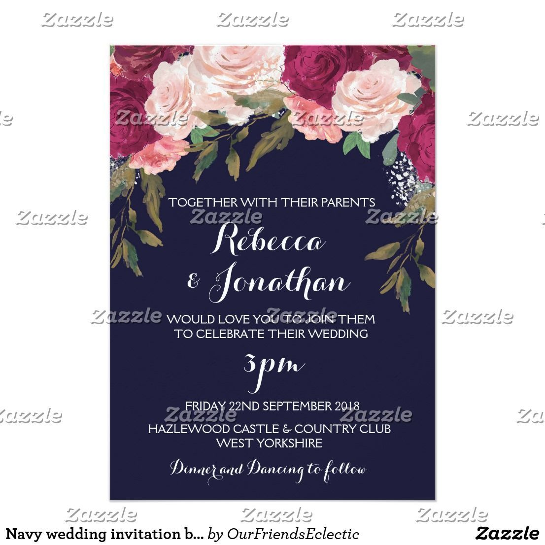 Navy Wedding Invitation Burgundy Pink Floral Navy Weddings