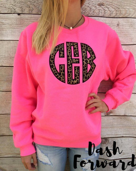 f3abf45f9 Circle Initials Monogrammed Sweatshirt BIG Cheetah, Applique, Cheetah Print,  Preppy