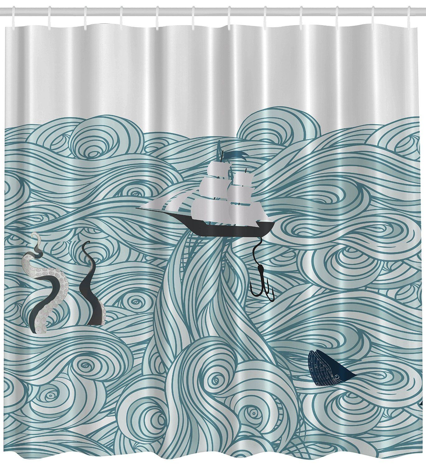 Ocean shower curtain - Amazonsmile Japanese Great Waves Ocean Style Sail Boat Fishing Lure Octopus Tentacles Whale Shark Illustration