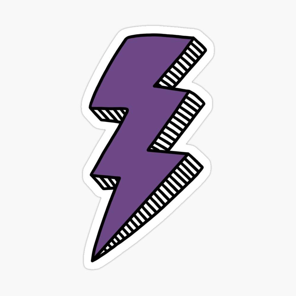 Purple Lightning Bolt Sticker By Jamie Maher In 2021 Purple Lightning Etsy Stickers Lightning Bolt Design