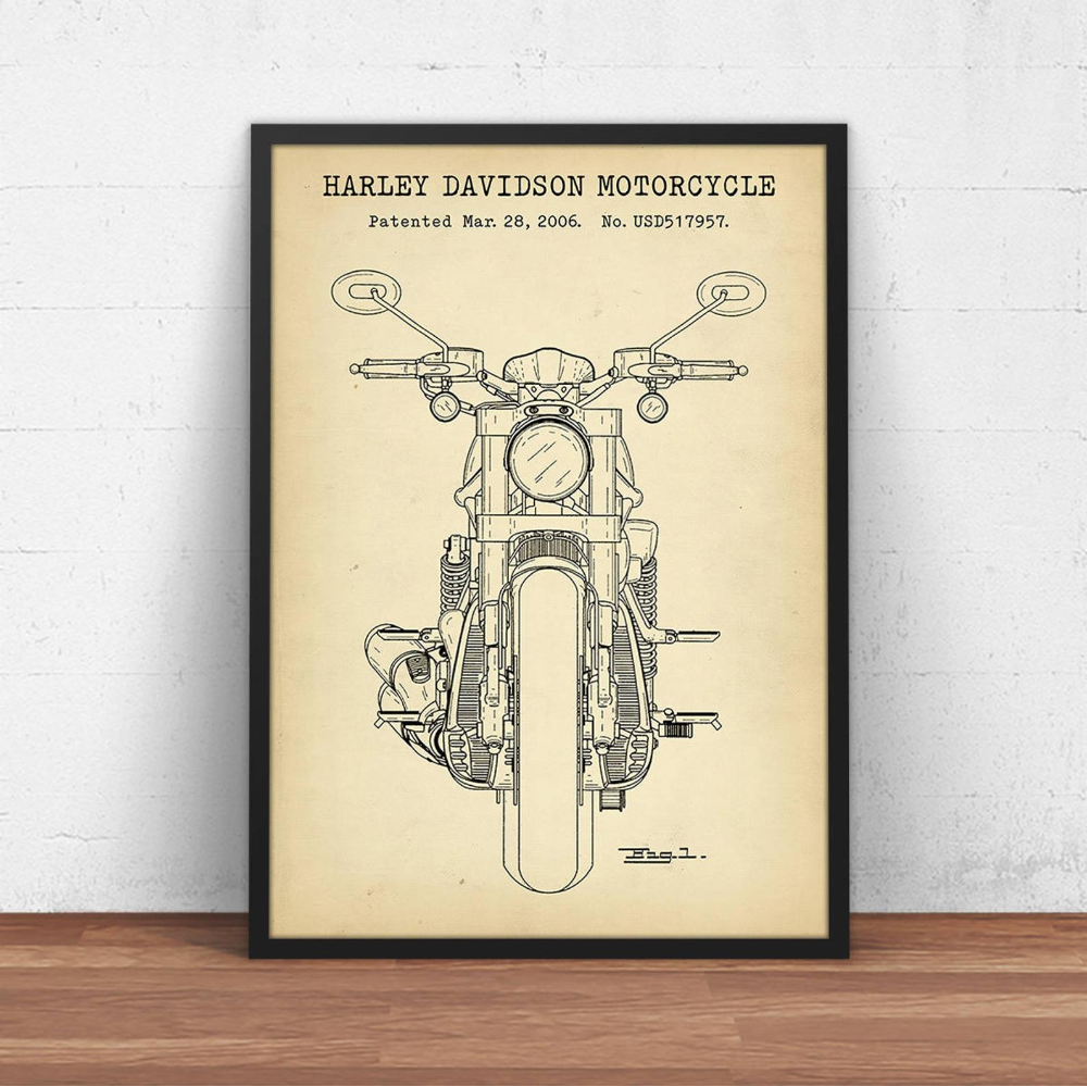 Harley Davidson Motorcycle 2006 Patent Poster High Quality Prints