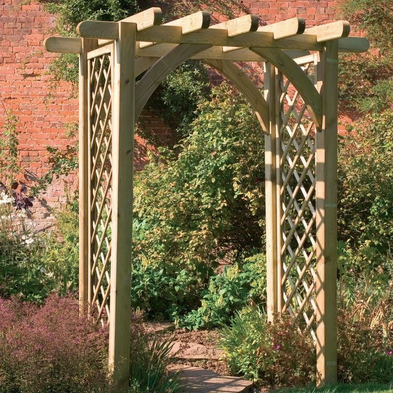Garden trellis pergola premier pergola arch buy fencing for Timber garden arch designs
