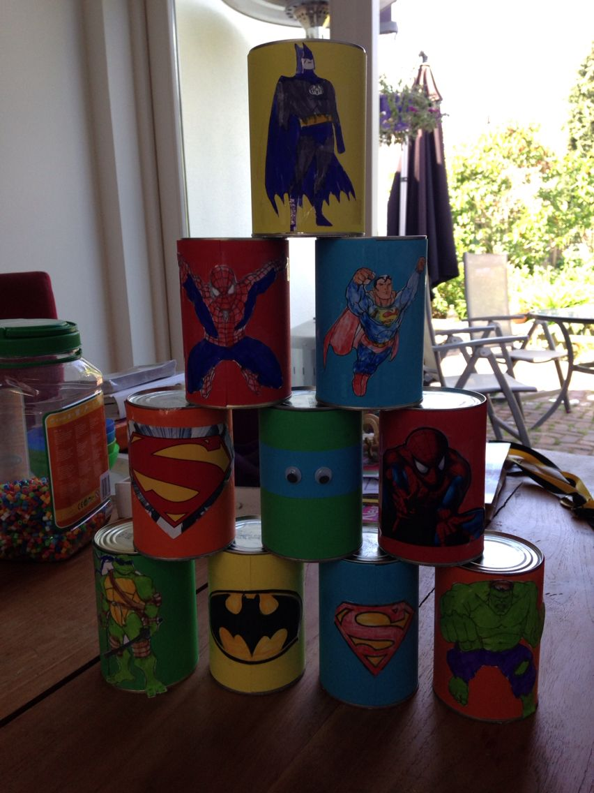 Superhelden Blikgooien Superheld Geburtstagsfeier Superhelden