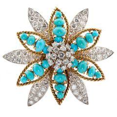 David Webb Turquoise Diamond Gold Platinum Flower Brooch