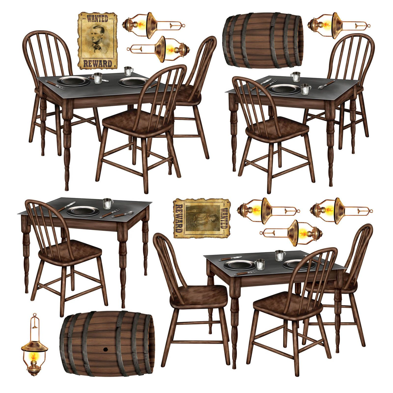Wild West Saloon Bar Scene Setter Prop Tables Chairs