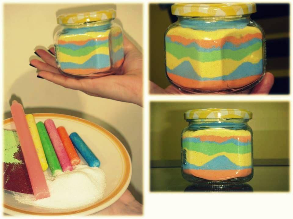 Lixa + giz de lousa + sal ( vela para derreter a parafina e finalizar!
