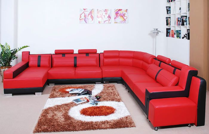 Modern Living Room With Red Leather Sectional Sofa Furniture Ideas