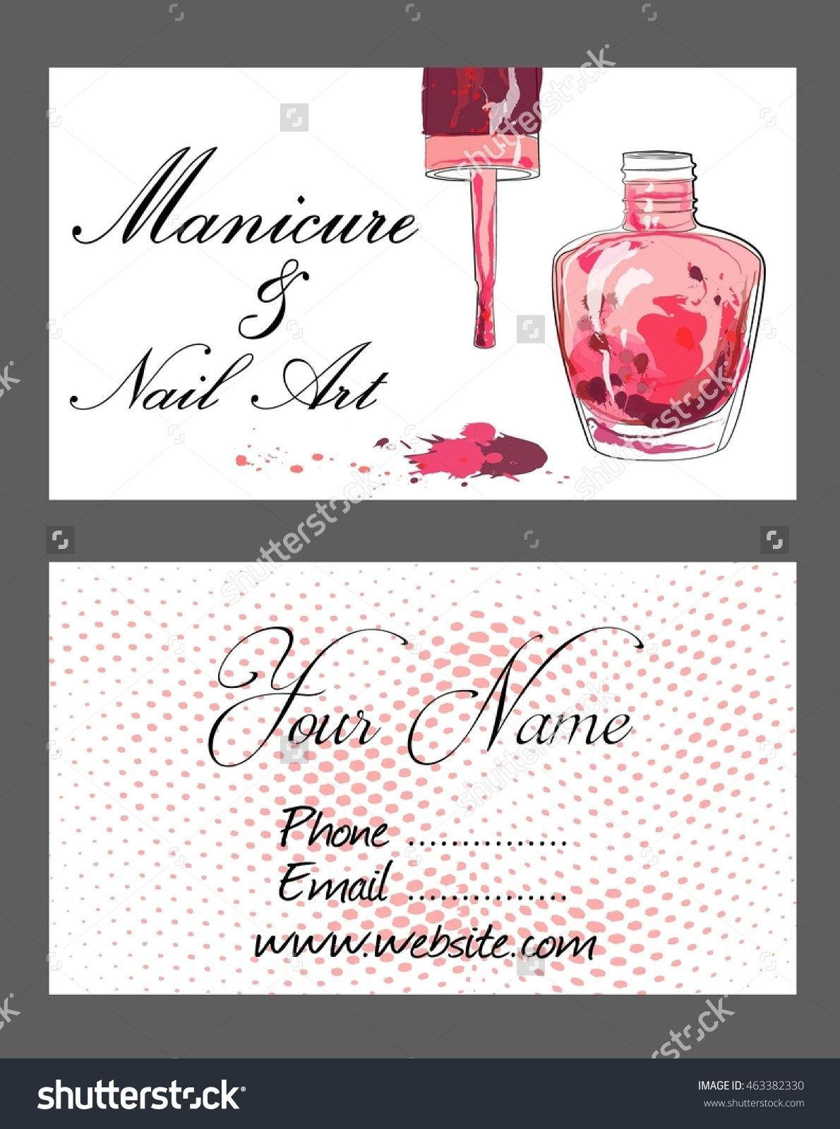 Set Of Business Cards For Manicure And Nail Art. Stock Vector ...